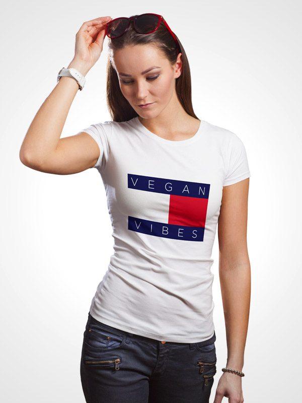 Vegan Hilfiger White- Women Tshirt