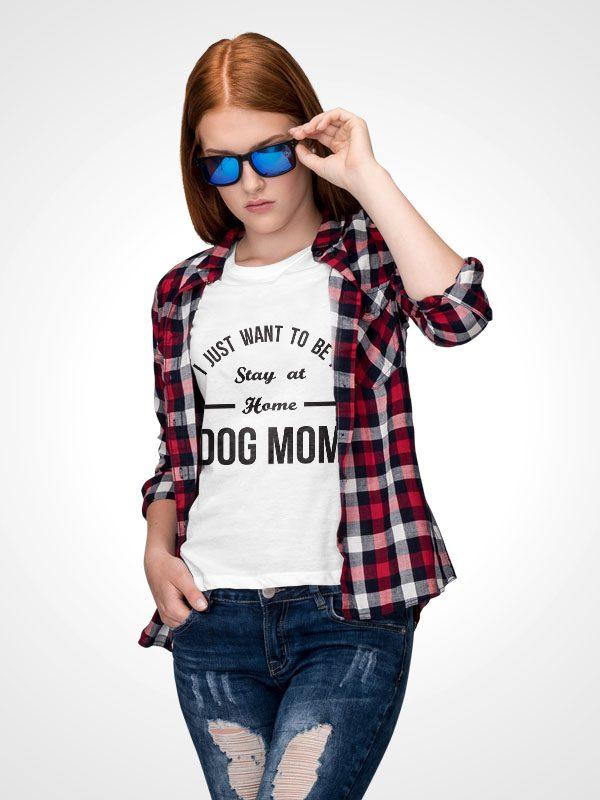 Home Dog Mom – White Women Tshirt