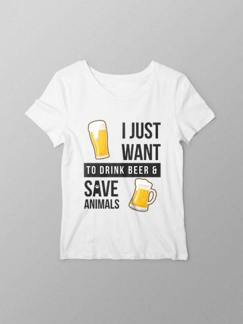 Beer and Animal Liberation – White Women Tshirt