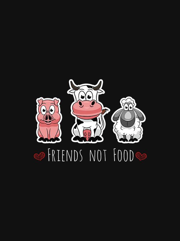 Friends Not Food – Unisex Black Hoodie
