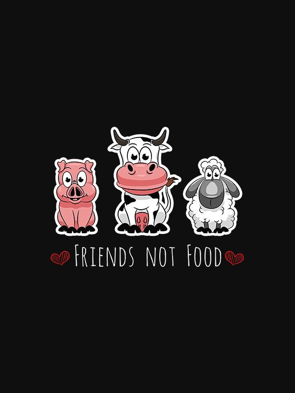 Friends not Food – Black Vegan Tshirt