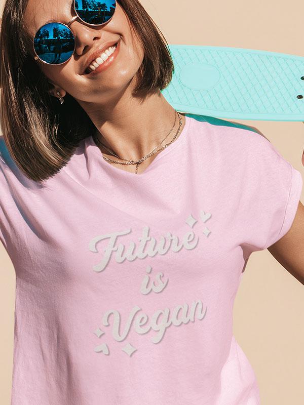 Future is Vegan – Women Pink Tshirt
